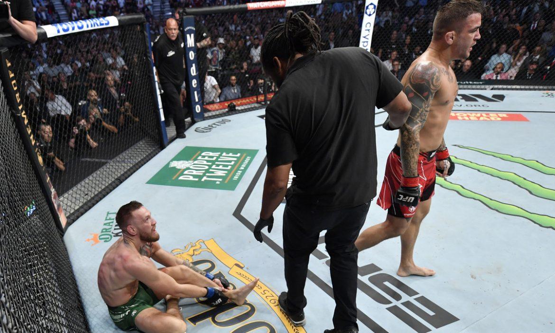 McGregor membalik pergelangan kaki saat kalah dari Poirier
