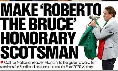 Mancini mengusulkan 'Warga Kehormatan Skotlandia'