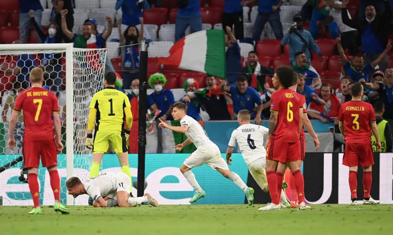 Belgia 0-1 Italia (babak pertama): Barella membuka skor